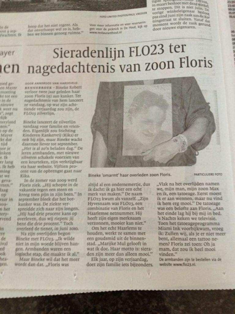 Haarlemsdagblad 25 augustus 2012 Flo23 Haarlem Floris